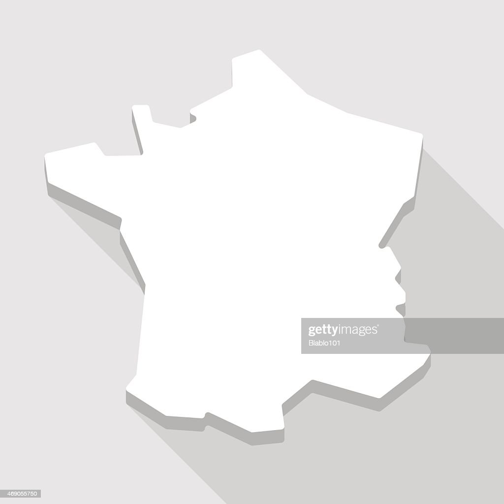 Long shadow France map icon