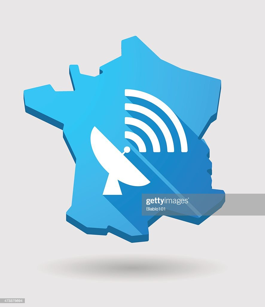 long shadow France map icon with an antenna