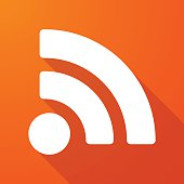 Long shadow icon with a RSS feed sign