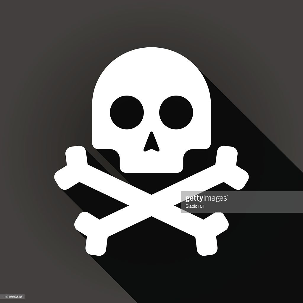 Long shadow icon with a skull
