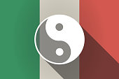 Long shadow  Italy flag with a ying yang