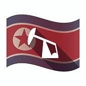 Long shadow North Korea flag with a horsehead pump