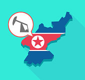 Long shadow North Korea map with a horsehead pump