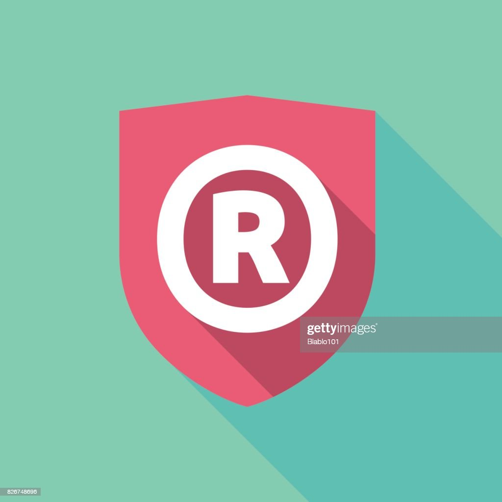 Long Shadow Shield With The Registered Trademark Symbol Vector Art