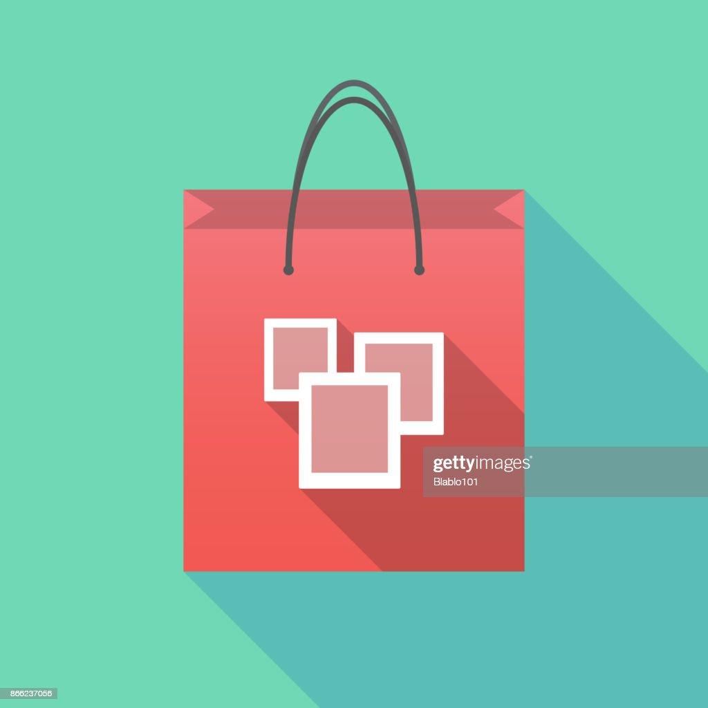 Long shadow shopping bag with a few photos