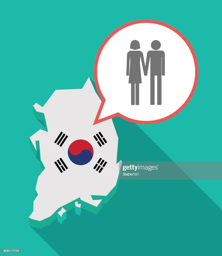 Long shadow South Korea map with a heterosexual couple pictogram