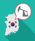 Long shadow South Korea map with a horsehead pump