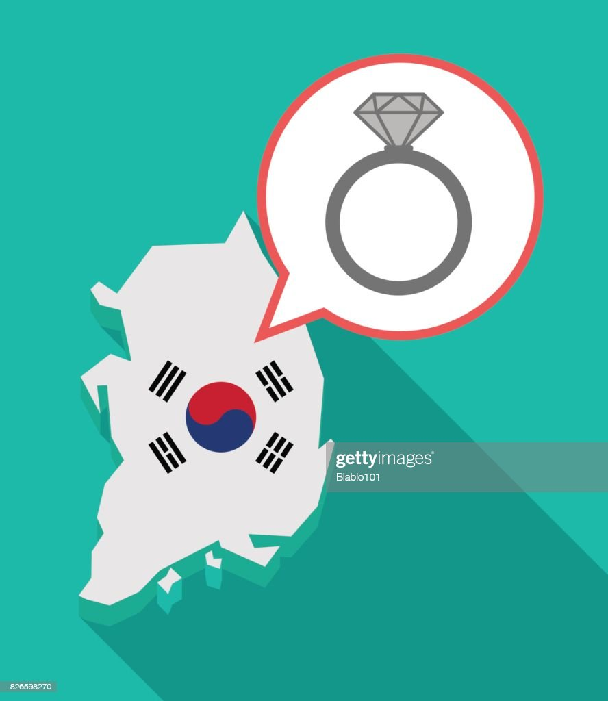 Long shadow South Korea map with an engagement ring