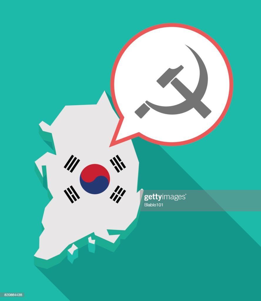 Long Shadow South Korea Map With The Communist Symbol Vector Art