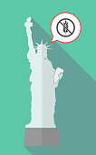 Long shadow statue of liberty with  a gluten free sign