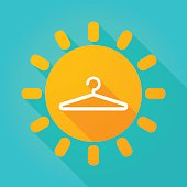 Long shadow sun icon with a hanger