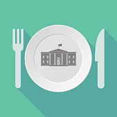 Long shadow tableware with  the White House building