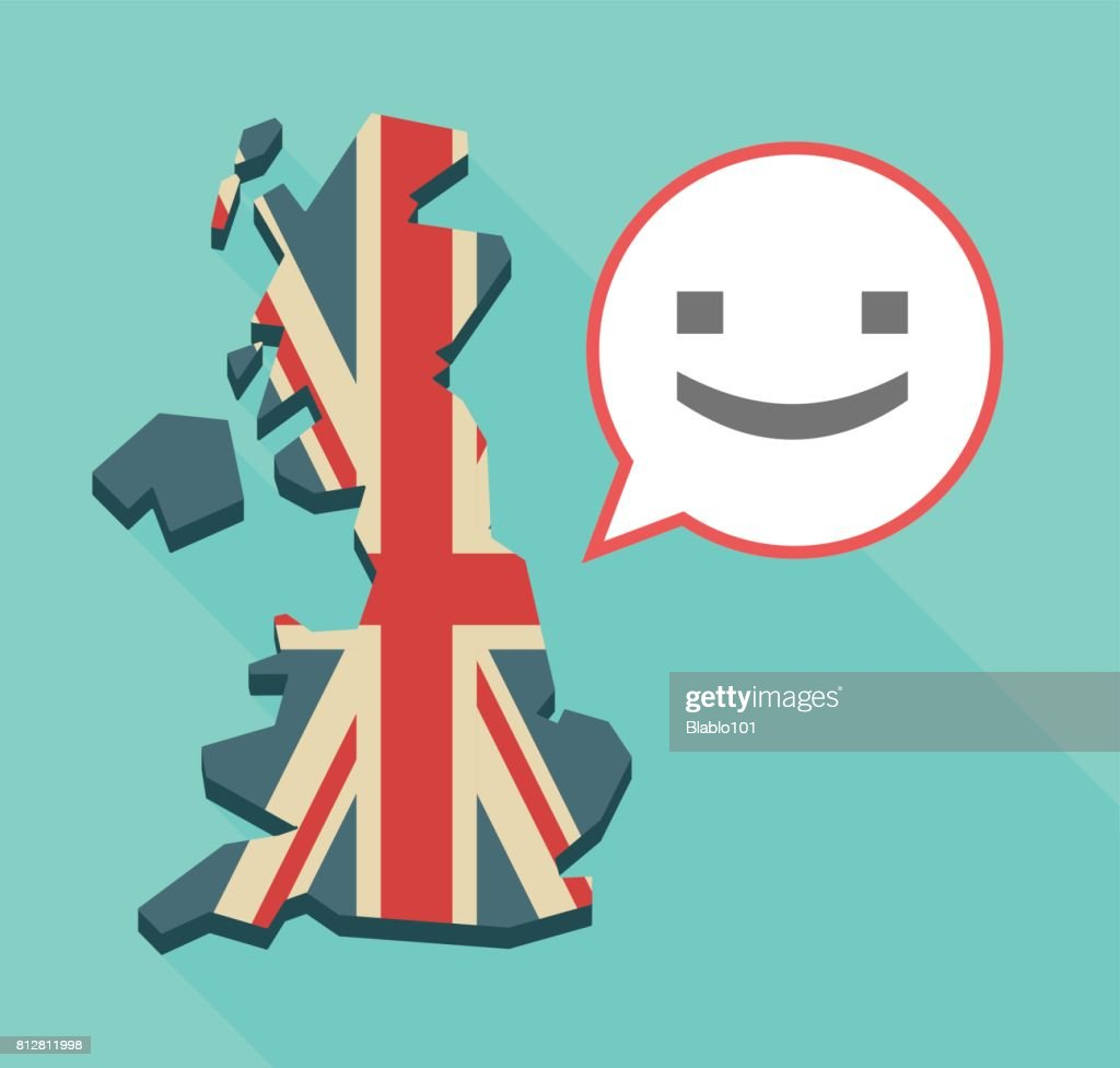 Long shadow UK map with a smile text face