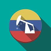 Long shadow Venezuela button with a horsehead pump