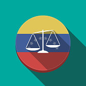 Long shadow Venezuela button with  an unbalanced weight scale