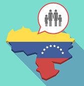 Long shadow Venezuela map with a lesbian parents family pictogram