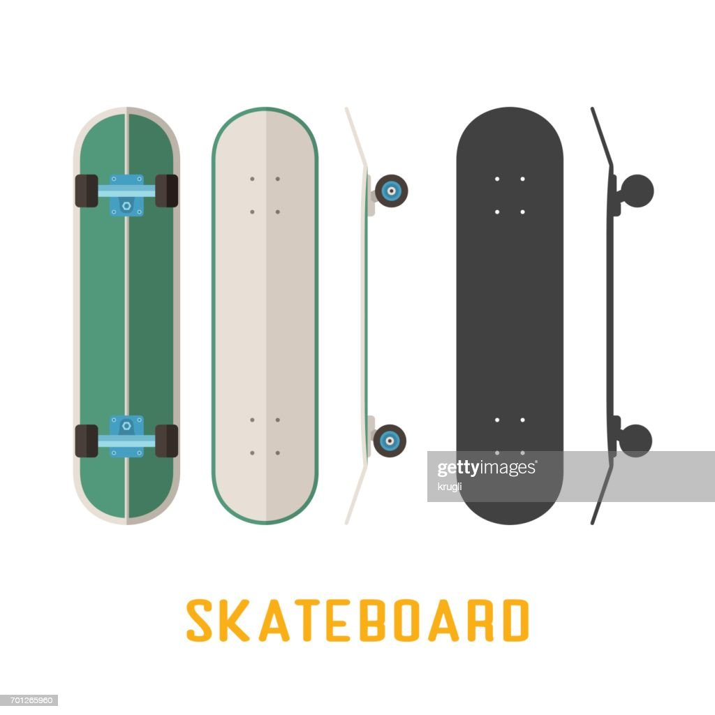 Long Skateboard Bottom, Side and Top View