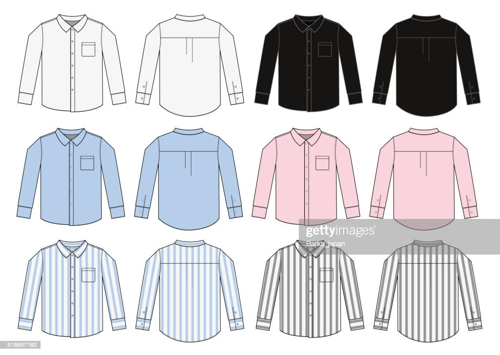 long sleeve business shirt illustration set / color variation