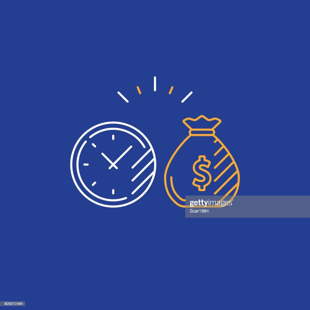 Long term investment, return on investing money, pension fund planning line icon