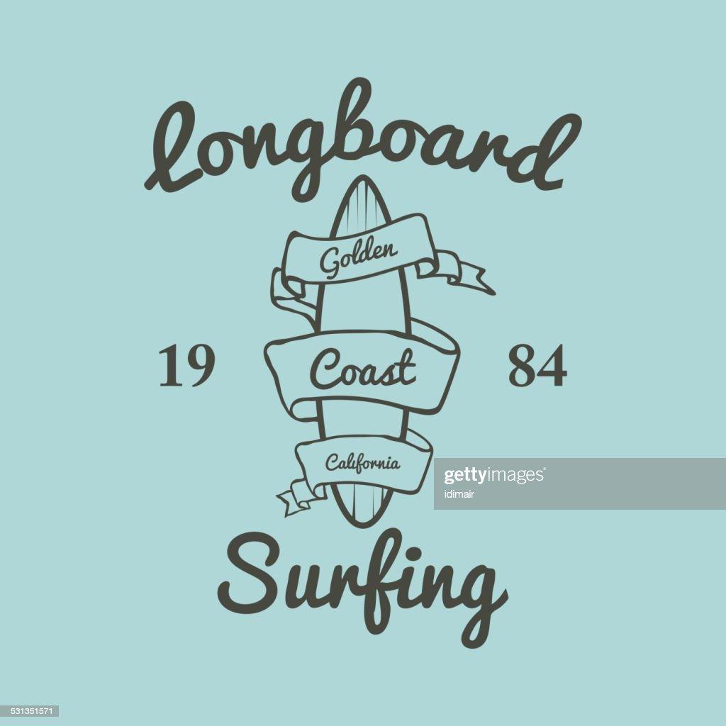 Longboard surfing typography, t-shirt graphics, vectors