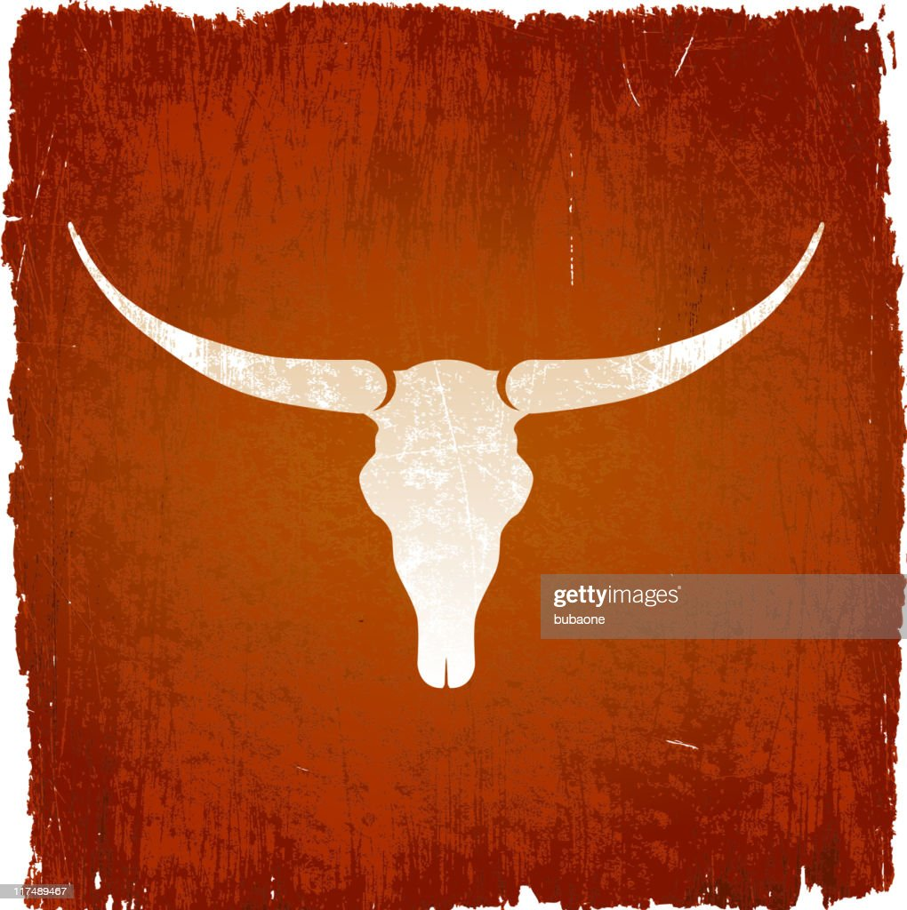 Longhorn bull skull on royalty free vector Background
