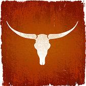 Longhorn bull skull on royalty free vector Background