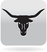 Longhorn steer icon in gray