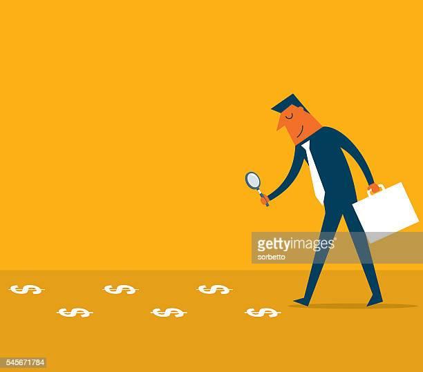 ilustraciones, imágenes clip art, dibujos animados e iconos de stock de observando a pasos de dólares - detective