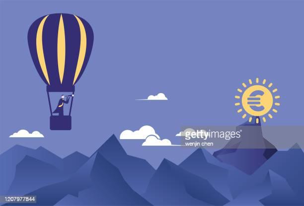stockillustraties, clipart, cartoons en iconen met op zoek naar euro's met een telescoop op een heteluchtballon voorraad illustratie - vangen