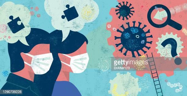 コロナウイルス問題の概念の解決策を探しています - woman wearing protective face mask点のイラスト素材/クリップアート素材/マンガ素材/アイコン素材