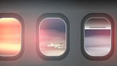 Looking out the Windows of a Plane, at Clouds and another Aeroplane - Vector Illustration