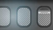 Looking out the Windows of a Plane, Transparent Background- Vector Illustration