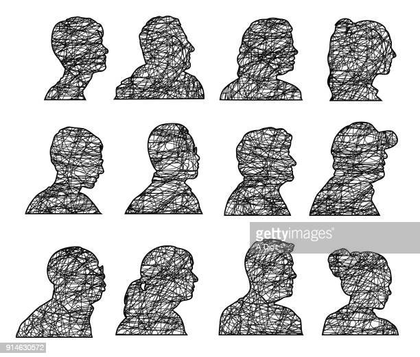looking right silhouette profile - human head stock illustrations