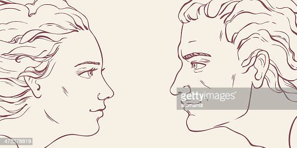 looking with love - beautiful woman stock illustrations