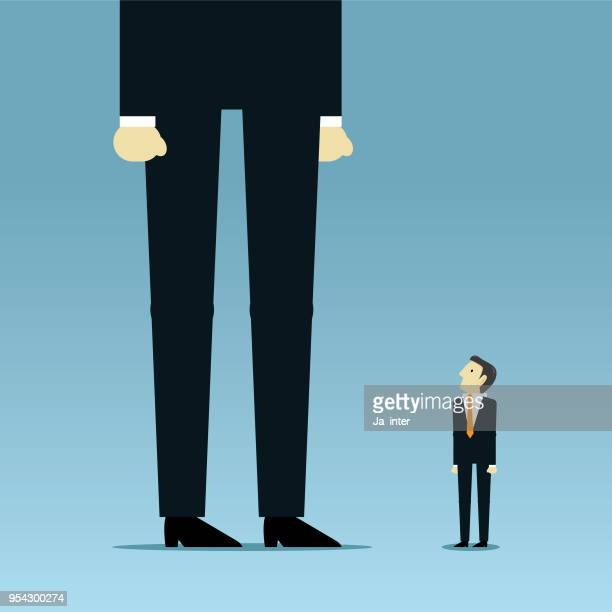 looks up towards much larger businessman - corporate hierarchy stock illustrations, clip art, cartoons, & icons