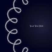 Loop curled silver chain background.  Round segment frame.