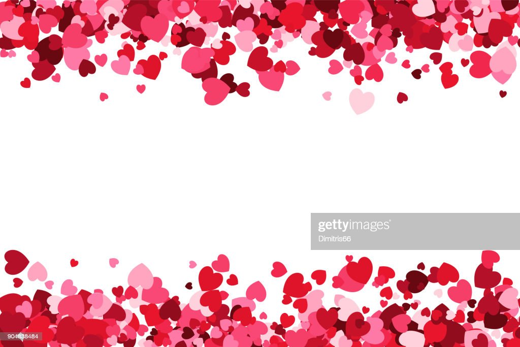 Loopable love frame - Pink heart shaped confetti forming a header - footer background for use as a design element