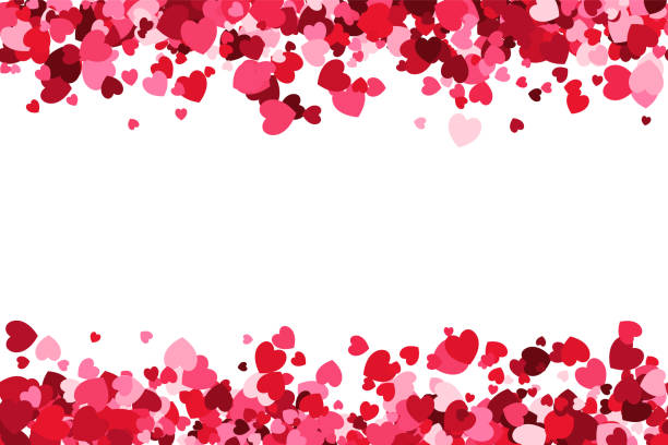 loopable love frame - pink heart shaped confetti forming a header - footer background for use as a design element - pink stock illustrations