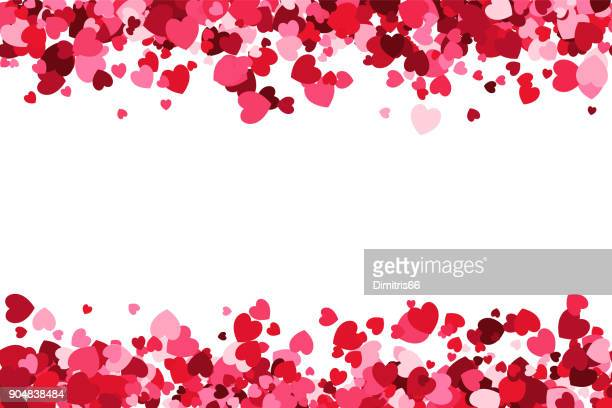 loopable love frame - pink heart shaped confetti forming a header - footer background for use as a design element - at the edge of stock illustrations