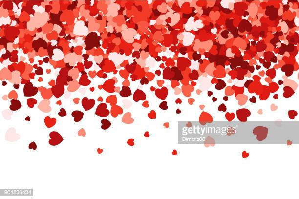 Loopable love header - Red heart shaped falling confetti gradient background