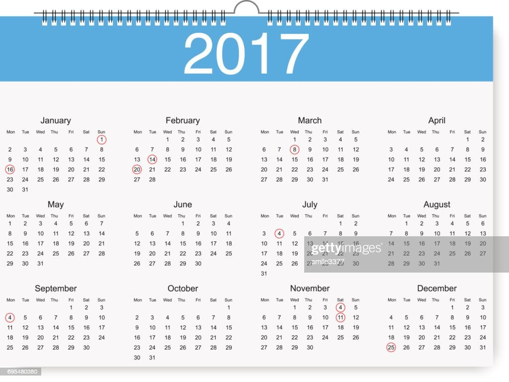 Loose-leaf calendar for 2017 with pointers holidays. Vector illustration