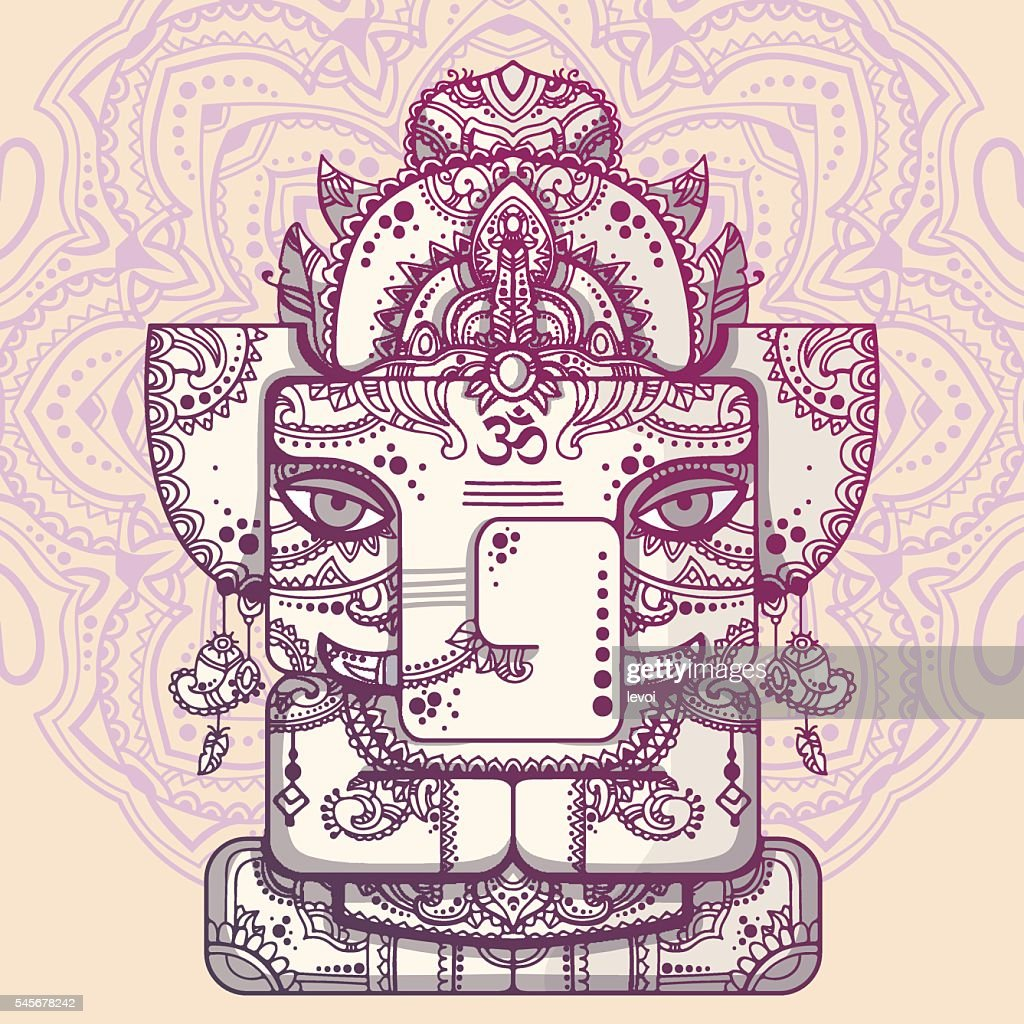 Lord Ganesha. Vector illustration of indian god of wisdom and prosperity