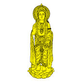 Lord Murugan classic statue drawing, God of war, son of Shiva and Parvati also known as Skanda. Vector.
