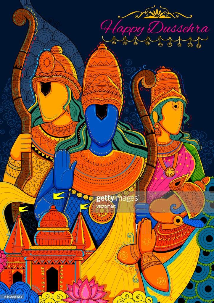 Lord Ram, Sita, Laxmana, Hanuman and Ravana in Dussehra Navratri