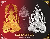 Lord Shiva and Bodhi Tree thai tradition