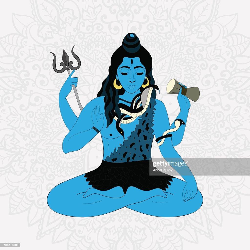 Lord Shiva in the lotus position and meditate. Maha Shivaratri