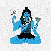 Lord Shiva in the lotus position and meditate. Maha Shivaratri illustration, vector indian god Ganesha, background for yoga