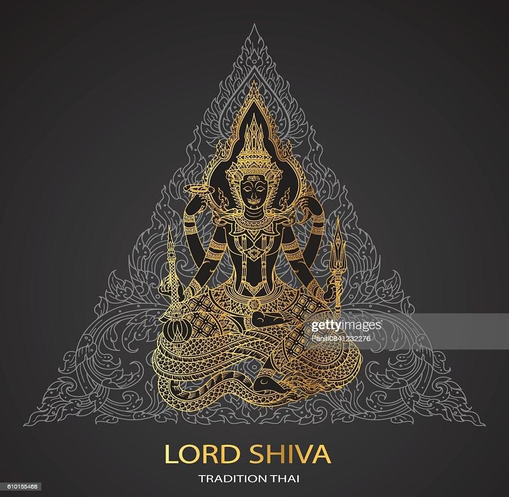 Lord Shiva on triangle background shape