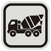 lorry, mixing car, black and gray frame, button, vector icon