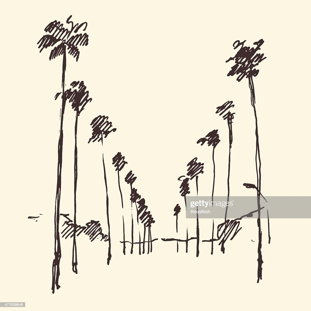 Los Angeles, California, Skyline Engraved Sketch